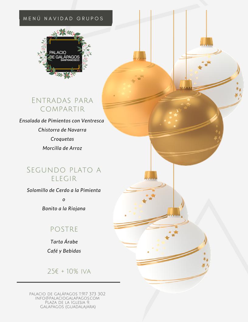 Menús GRUPOS NAVIDAD 2017 Palacio de Galápagos cenas de empresa