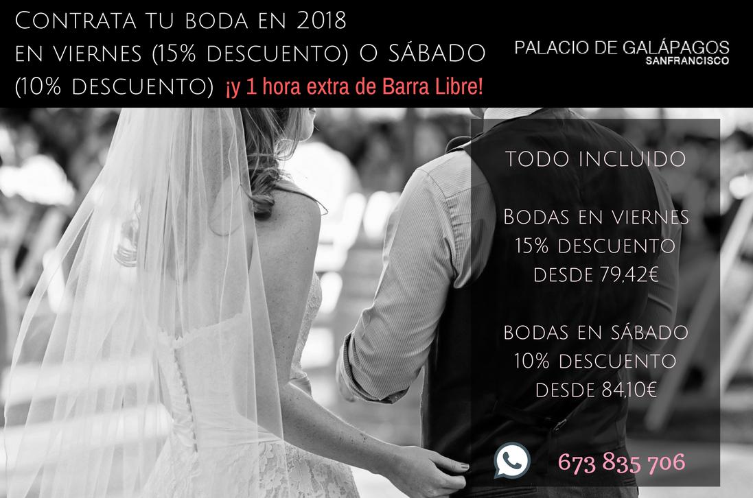 oferta boda viernes novios Palacio galapagos