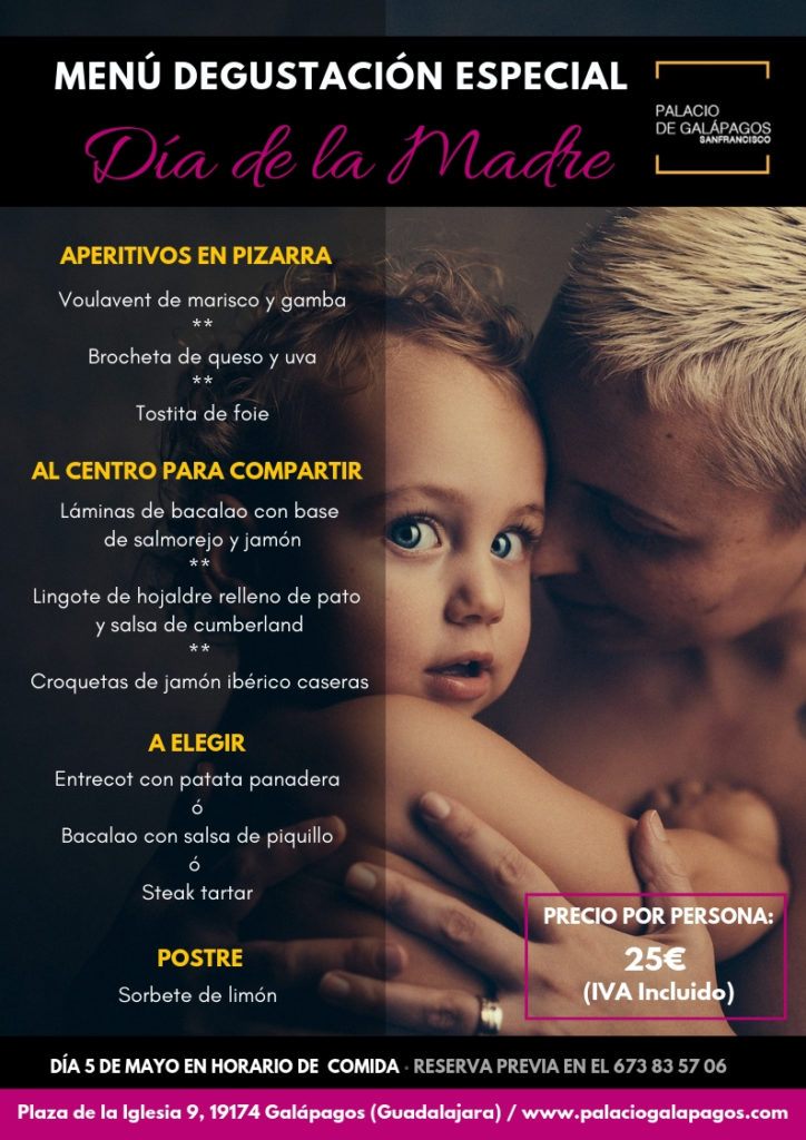 Manú especial Día de la Madre en Palacio de Galápagos