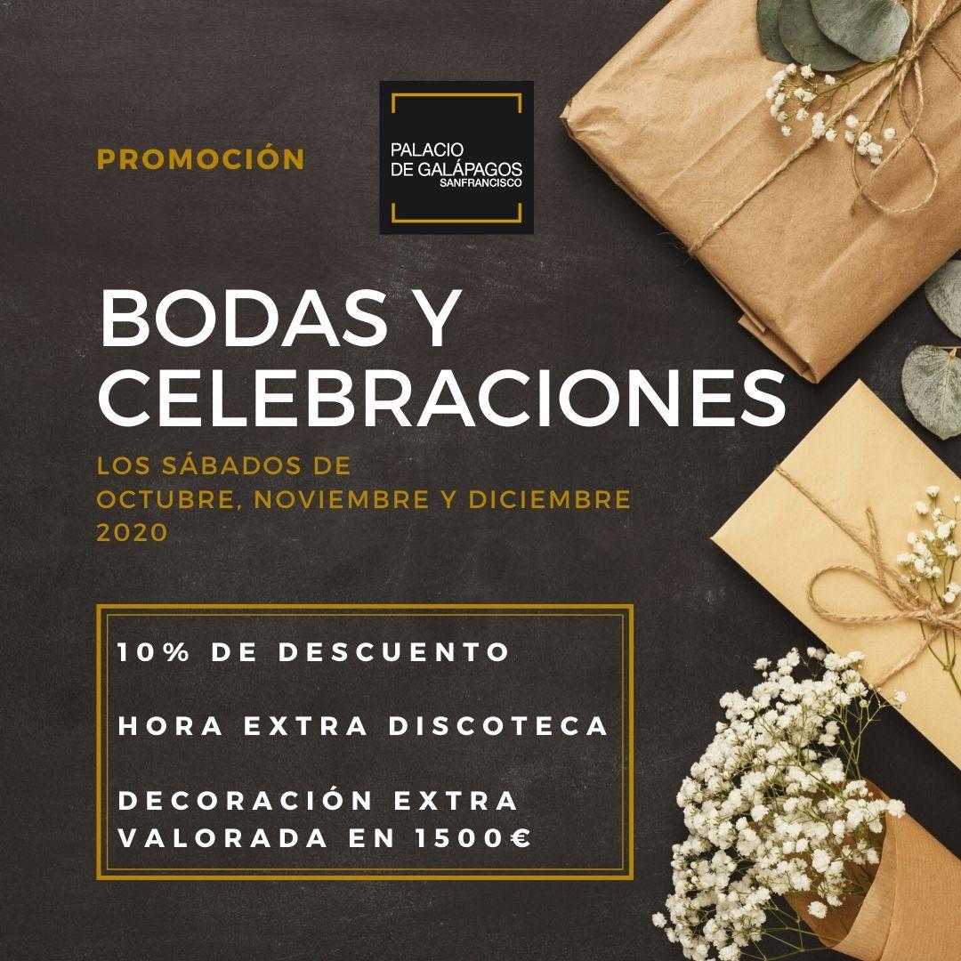 Promoción bodas y celebraciones sábados octubre noviembre y diciembre 2020